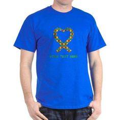 Cafepress Personalized Autism Puzzle Heart T-Shirt, Men's, Size: Small, Blue
