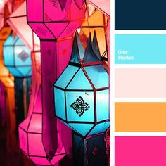 Motley dance of light and bright shades of pink, orange and blue underlines the coldness of dark Prussian blue. It is percepted as a positive and cheerful.