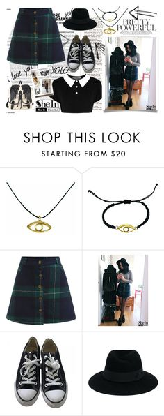 """""""button skirt"""" by giampourasjewel ❤ liked on Polyvore featuring Converse, Maison Michel and Garance Doré"""