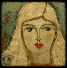 4x4 Mixed Media Folk Art Painting