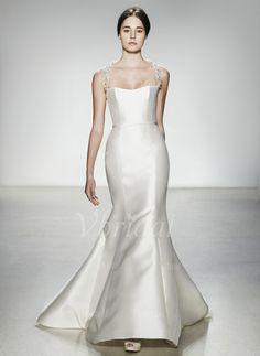 Trompete/Meerjungfrau-Linie Herzausschnitt Sweep/Pinsel zug Satin Brautkleid mit Perlen verziert (00205003390) - vbridal