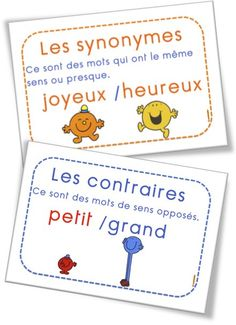 FREE French posters: definition of synonyms and antonyms. Les synonymes et les contraires avec les monsieur madame French Teaching Resources, Teaching French, Read In French, Mr Men Little Miss, Synonyms And Antonyms, French Grammar, French Classroom, French Immersion, French Teacher