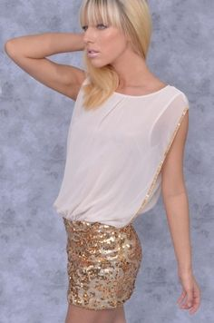Sequin Skirt with Chiffon Top Dress - Clothes | Maria Morena Wholesale