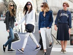 how to wear the trends ways to wear sneakers slip ons trainers fashion blog outfits 2014