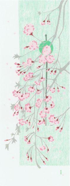 絵てぬぐい 春 しだれ桜とかんざし.jpg