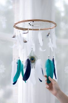 Bohemian Nursery Dreamcatcher Mobile  Navy Teal by HippiebyViki