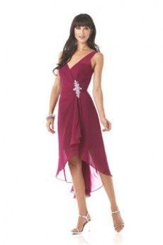 Sheath/Column V-neck Knee-length High Low Hem Chiffon Mother of the Bride Dress