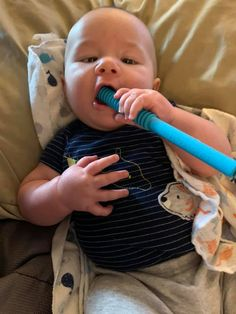 """I was extremely skeptical about these, fear of him choking and gagging himself BUT my 4 month old DOES SO GOOD WITH IT!!!! He absolutely loves it and so do I! It is by far the best teether I have found, this is my third child and I WISH I could have found these sooner! Love love LOVE IT!""  ~Jessica S. Best Teething Toys, Baby Teething Remedies, Third Child, 4 Month Olds, Happy Baby, Three Kids, Our Baby, Beautiful Babies, Stuff To Do"