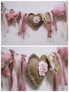 Heart Garland for Valentine's Day Decor Kids Crafts, Diy And Crafts, Craft Projects, Sewing Projects, Burlap Crafts, Fabric Crafts, Sewing Crafts, Creation Deco, Creation Couture