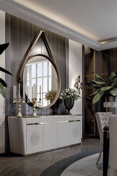Love this mirror! This is a beautiful place to come for modern home decor ideas. Modern console table is at the center of our attention. Sideboard Dekor, Modern Sideboard, Modern Console Tables, Sideboard Ideas, Living Room Furniture, Home Furniture, Living Room Decor, Furniture Design, Console Furniture