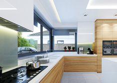 Wyjątkowy 2 z oknem narożnym w kuchni - inspiracja dla lubiących jasne wnętrza i dzienne światło. #domowy #domowypl #kuchnia #oknonarozne #duzeokno #minimalizm #nowoczesnydom #duzydom #jasnakuchnia #kuchnia #widok #zwidokiem