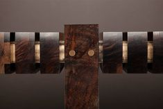 """""""The Bridge"""" Console Table in Smoked Walnut and Etched Bronze by Studio Roeper 2"""
