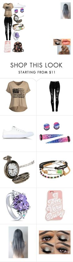 """""""White Rabbit Chronicles OC #2: Lilac"""" by bloodyrose130 ❤ liked on Polyvore featuring Converse, Hot Topic, Disney, BERRICLE and ban.do"""