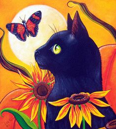 """Black Cat and Butterfly Autumn"" par Lisa Nelson"