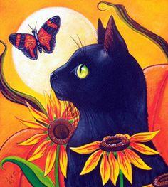 """Black Cat and Butterfly Autumn"" par Lisa Nelson"