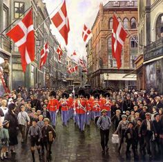 """Paul Gustave Fischer (1860-1934) """"The Guard on King Christian's birthsday, 1925."""