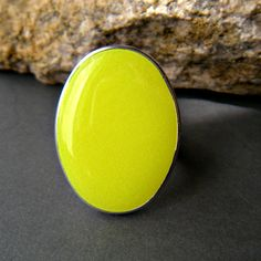 Neon Yellow Oval Statement Ring, Resin, Adjustable, Fluorescent Yellow Cocktail Ring on Etsy, $12.26 AUD