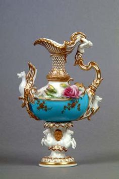 Coalport Porcelain, Coalbrookdale-style Ewer c.1840.  A ewer is a vase-shaped pitcher, often decorated, with a base and a flaring spout