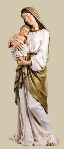 """Madonna And Child Large Catholic Statue 37"""" Tall. Beautiful Madonna and child statue for church or home. Perfect gift for any Catholic person. Renaissance Collection Made of Resin/Stone Mix Measures a"""