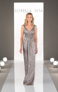 Sorella Vita Designer Series Bridesmaid Dress: Modern Metallic in Platinum; Featuring flattering ruching throughout the bodice that falls gracefully into a flowing skirt. Brilliant matte sequin all-over detail with a classic v-neck.