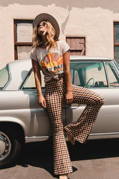 Vintage Plaid Bell-bottoms Pants - New Sites Boho Outfits, 70s Outfits, Cute Outfits, Plaid Outfits, Beautiful Outfits, Seventies Outfits, Cute Hippie Outfits, Trendy Outfits, 1990s Outfit