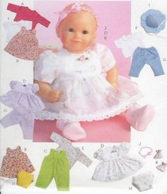 Bitty Baby Clothes Dress Hat Pattern McCalls 4338 Sew for Your 11 16in Doll | eBay