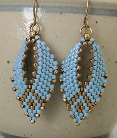 Linda's Crafty Inspirations: Russian Leaf Earrings - Denim Blue & Bronze