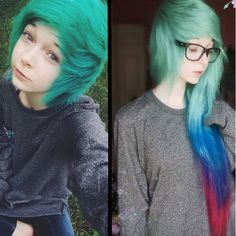 Pastel green hair color with more color ombre hairstyle Pastel Green Hair, Green Hair Colors, Colorful Hair, Emo Scene Hair, Emo Hair, Colored Hair Extensions, Clip In Hair Extensions, Hair Extensions Before And After, Alternative Hair