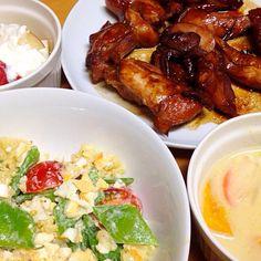 ⚫︎鶏肉の照り焼き ⚫︎ポテトサラダ ⚫︎クリームシチュー ⚫︎林檎ヨーグルト - 11件のもぐもぐ - 2014.12.24 by amagishinjyu