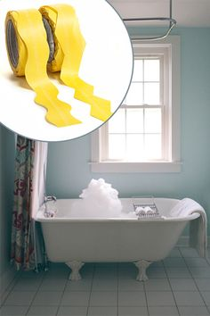 "Use scalloped painter's tape (@frogtape shape tape) to create a ""water line"" around the exterior of the tub, then fill in with a seaworthy blue, such as @SherwinWilliams All-Surface Enamel in Nautilus."