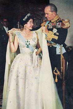 Frederica wearing the emerald kokoshnic, ear pendants and devant de corsage