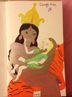Durga Maa Om Ink pen on card stock By: Roxanna Arnett  Year: 2015