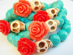 Day of the Dead Bracelet Dia de Los Muertos Beaded by polishedtwo, $12.00