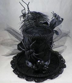 She is going to love this when she sees it. Halloween Hats, Holidays Halloween, Halloween Decorations, Black Widow Costume, Tea Hats, Steampunk Top Hat, Hat Crafts, Crazy Hats, Wasteland Weekend