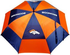 """NFL Denver Broncos 62-Inch Double Canopy Umbrella by Team Golf. $31.82. 100% nylon fabric. 62"""" Umbrella. Double canopy wind protection design. 4 location imprint and printed sheath. Auto open button. -1. NFL Denver Broncos 62-Inch Double Canopy Umbrella. Save 26% Off!"""