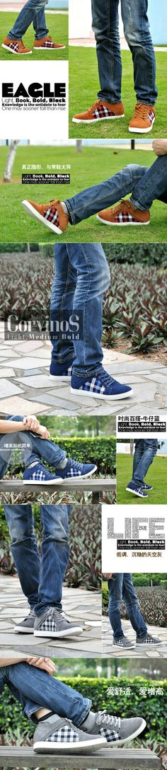 Increase height footwear suede leather casual shoes Korea style grow taller 6cm / 2.36inches shoes