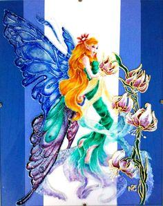 """Tableau peinture sur verre """"LA FEE PAPILLON"""" (détail d'après une illustration d'AKARI : Fée à la flûte) : Peintures par mamycole"""