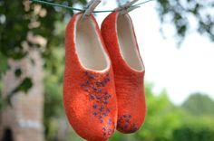 Felted slippers orange (EU 38, US 8) handmade felt wool house shoes , ready to ship on Etsy, $86.13 CAD