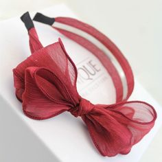 [$3.86] (3 Total) Multilayer Organza Bow Hair Bands (Colour: Burgundy)