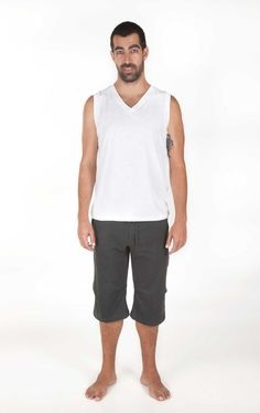 SUN TOP - So fresh and simple, Sun Top is a basic V neck tank top made in pure breathable 100 per cent slubbed cotton.  Great with jeans or our Shambala Shorts or Hanuman Trousers. For every activity.    Pinned by www.AndaraStars.com    #Mindful #Active #Wear for #Yoga #Dance #Pilates #Leisure #Fitness #AndaraStars