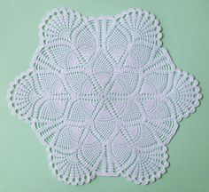 White cotton lace doily hand crochet table clothes center