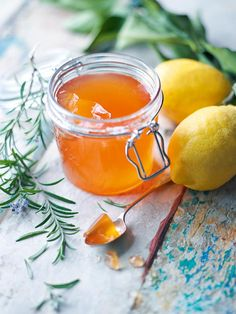 Honey, Rosemary, and Apple Jelly Recipe (Wondering what to do with all the local apples in season? This easy apple jelly is your answer. Spectacularly sweet and savory, this is perfect for Rosh Hashanah and hostess gifts. Jelly Recipes, Jam Recipes, Canning Recipes, Apple Recipes, Honey Recipes, Drink Recipes, Apple Jelly, Apple Jam, Jam And Jelly