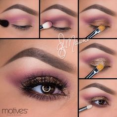 """Pictorial by Ely Marino - Motives Muse Palette & My Beauty Weapon palette Get the look: 1.Apply the Plum shade slightly above the crease. 2.Taking """"Plum"""" apply it in the crease and blend. 3.Apply the bronze shade on the entire lid.4.Apply Motives Glitter Adhesive to the lid and gently pat Motives Gem Dust in """"24k"""" over top. 5.Smudge """"Plum"""" shadow underneath the lower lash line with Motives Eye Candy Crème Eyeshadow in """"Butterscotch"""" on the water line."""