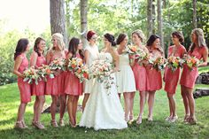 We love this bridal party look! The good thing about these bridesmaids dresses, you can wear them again // Photo by Tracie Ancelet  #wedding #castletonfarms #bridesmaidsdresses #weddingcolors