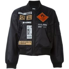 KTZ Patch Bomber Jacket ($424) ❤ liked on Polyvore featuring outerwear, jackets, tops, coats & jackets, black, bomber jacket, blouson jacket, bomber style jacket, kokon to zai and patch jacket