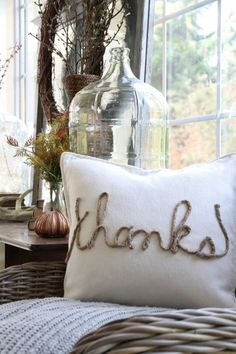 A simple pillow tutorial using twine rope and thread to spell words. Can be used for any season and takes minimal sewing skills.