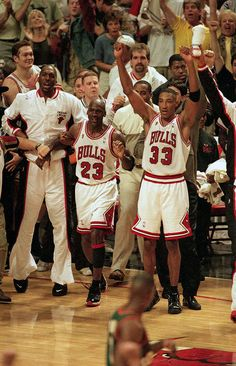 Michael Jordan and Scottie Pippen celebrate the Chicago Bulls victory over the Seattle SuperSonics in Game 6 of the NBA Finals on June 1996 at United Center in Chicago. Michael Jordan Pictures, Jordan Photos, Bulls Basketball, Basketball Legends, Basketball Cakes, Basketball Court, Basketball Wall, Basketball Shooting, Scottie Pippen