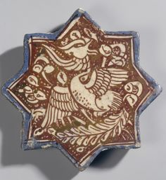 Name: Tile Place of creation: Iran Date: Late century Material: faience Technique: painted with lustre Dimension: diam. Tile Art, Mosaic Art, Mosaic Tiles, Iran Date, Ancient Persian, Arabesque Pattern, Islamic Patterns, Hermitage Museum, Antique Tiles