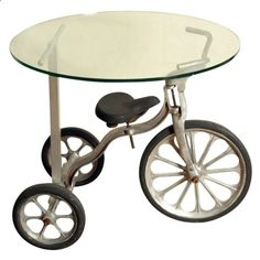 Upcycled trike table...This is phenomenal!