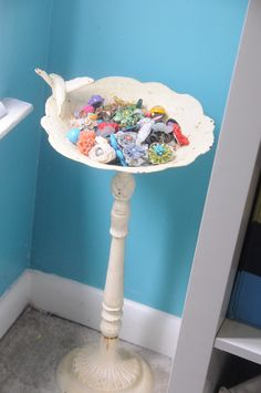 jewelry birdbath more embellishment storage!    (interesting..would be cute in a sewing room with yarn, or thread or other embellishments)
